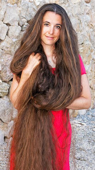"""Human hair growth - Marianne Ernst, a German """"Long hair model""""."""