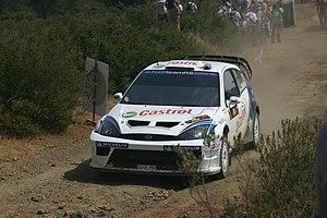 Markko Märtin - Märtin with a Ford Focus RS WRC 04 at the 2004 Cyprus Rally.
