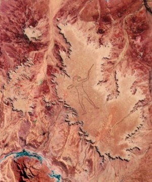 Marree Man - Landsat Thematic Mapper image of the Marree Man in central Australia taken 28 June 1998