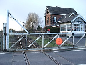Marston Moor railway station - The site of the station viewed from the level crossing in 2008