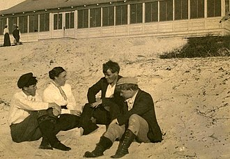 George Sterling, Mary Austin, Jack London, and Jimmie Hopper on the beach at Carmel, California Mary Austin, Jack London, George Sterling, Jimmie Hooper, restored.jpg