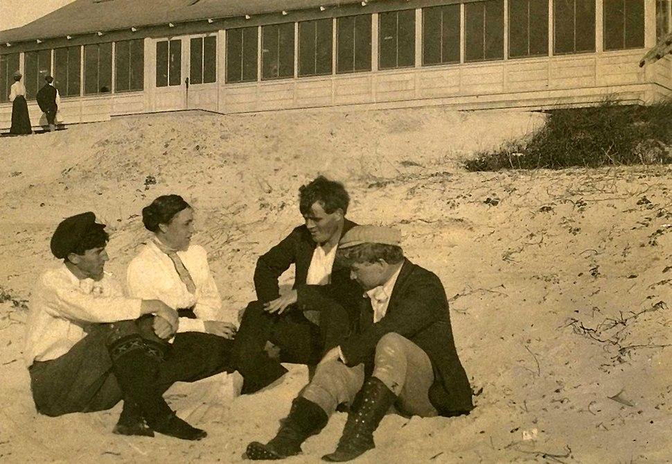 Mary Austin, Jack London, George Sterling, Jimmie Hooper, restored
