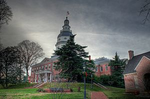 The Maryland State House in a storm in 2009