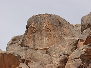 Wadi Mathendous - Engraving of The Fighting Cats (Meercatze) at Wadi Mathendous