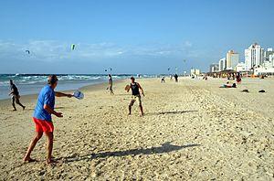 Matkot - People playing matkot in Tel Aviv, Israel