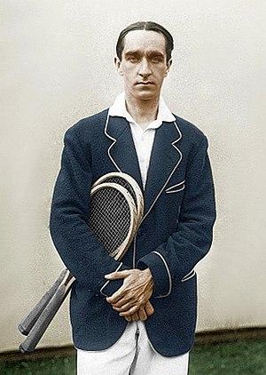 Max Decugis - Max Decugis standing near a tent in 1913