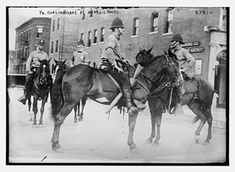 """Pressed Steel Car strike of 1909 - Mounted members of the Pennsylvania constabulary were deployed during the McKees Rocks strike. These officers were called """"Cossacks"""" by the strikers."""