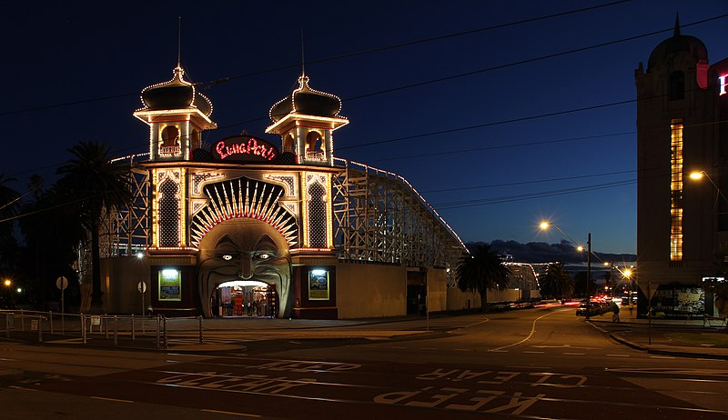 File:Melbourne Luna Park at Dusk.jpg
