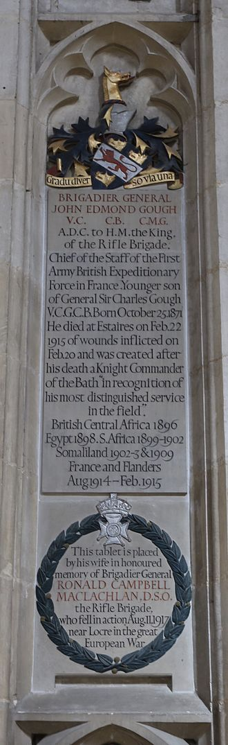 John Gough (VC) - Memorial in Winchester Cathedral