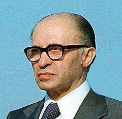 Israel's sixth prime minister, Menachem Begin, was Irgun leader at the time of the attack, though not present. Menachem Begin 2.jpg