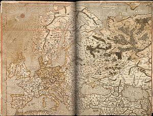 Spanish Armada in Ireland - Mercator map of Europe: the west coast of Ireland on the extreme left.