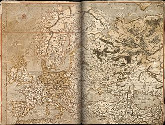 Spanish Armada in Ireland - Mercator map of Europe: the west coast of Ireland on the extreme left.