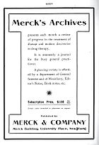 Ad for the January 1906 edition of the Merck's Archives