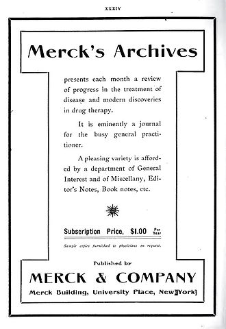 Merck Manual of Diagnosis and Therapy - Ad for the January 1906 edition of the Merck's Archives