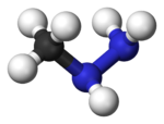 Ball-and-stick model of methylhydrazine