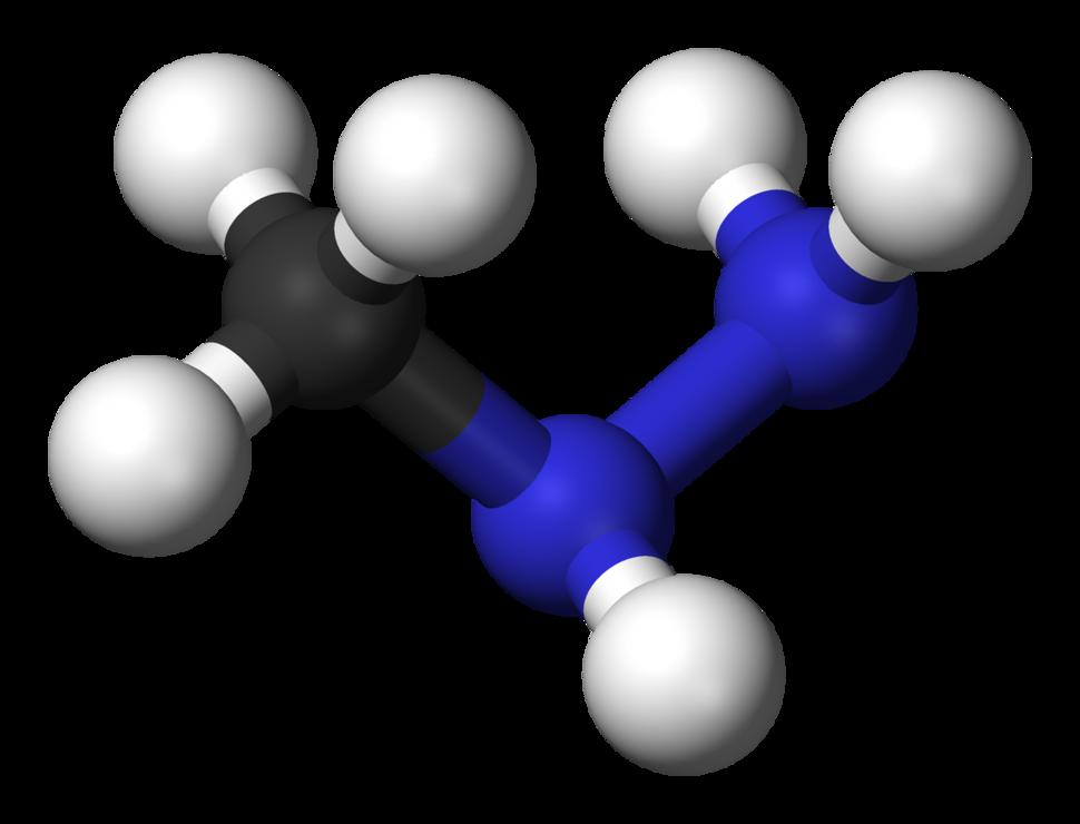 Ball and stick model of monomethylhydrazine