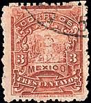 Mexico 1896-97 3c perf 12 Sc259 used.jpg