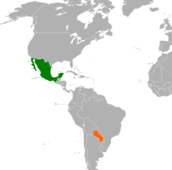 Map indicating locations of Mexico and Paraguay