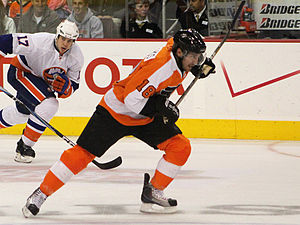 Philadelphia Flyers captain Mike Richards duri...