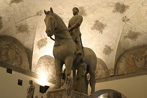 Equestrian statue of Bernabò Visconti in the Castello Sforzesco, Milan.