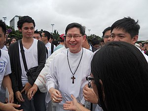 Million People March - Archbishop of Manila Luís Antonio Cardinal Tagle made a surprise appearance at the protests, and his speech condemning those who ignorant of the poor helped stoke protesters' anger at corrupt officials.