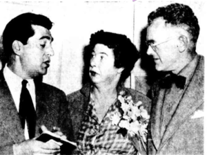 Hal Missingham - Moya Dyring with Claude Bonin-Pissarro (left), and the director of the National Art Gallery, Hal Missingham