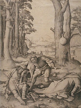 Criticism of Muhammad - Muhammed and the Monk Sergius (Bahira), 1508, by Dutch artist Lucas van Leyden. In early Christian criticism, it was claimed that Bahira was a heretical monk whose errant views inspired the Qur'an.