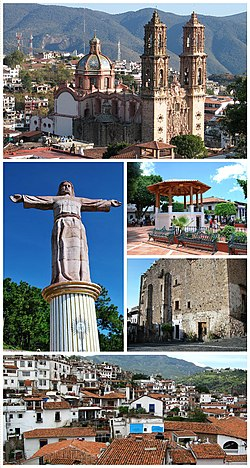 Top:Santa Prisca Temple (Templo de Santa Prisca), Middle left:Monumental Christ in Atachi Hills, Middle upper right:Kiosk at Borda Square, Middle lower right:Bonda House (Casa Bonda), Bottom:Panoramic view of downtown Taxco