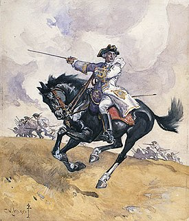 Montcalm leading his troops into battle. Watercolour by Charles William Jefferys (1869 - 1951).