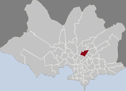 Location of Las Acacias in Montevideo