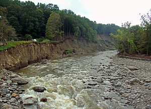 Moodna Creek - Moodna Creek from Forge Hill Rd. Bridge in New Windsor, showing widening of channel resulting from floods after Hurricane Irene