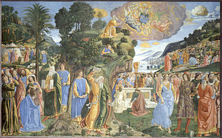 <i>Descent from Mount Sinai</i> (Sistine Chapel) fresco by Cosimo Rosselli