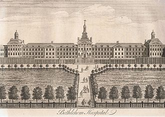 Bethlem Royal Hospital - Most of Bethlehem Hospital by William Henry Toms for William Maitland's History of London, published 1739.