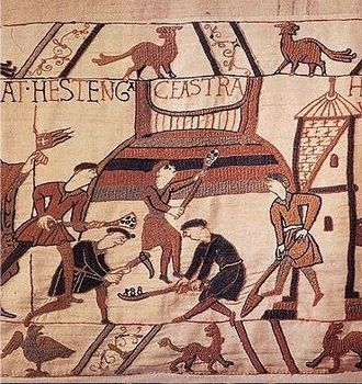 Motte-and-bailey castle - Building a motte, from the Bayeux Tapestry