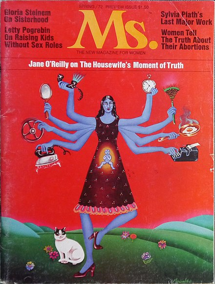 The first issue of Ms. magazine examined feminist economics in a piece by Jane O'Reilly Ms. magazine Cover - Spring 1972.jpg