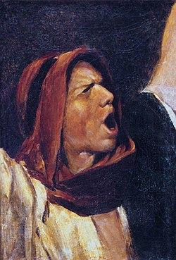 Photograph of an 1880 painting by Mihály Munkácsy depicting a man angrily shouting