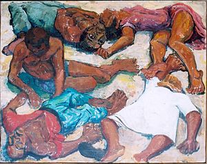 Music in the movement against apartheid - A painting of the Sharpeville Massacre of March 1960