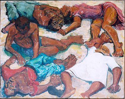 Painting of the Sharpeville Massacre of March 1960 Murder at Sharpeville 21 March 1960.jpg
