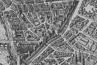 Wall of Philip II Augustus - Details of the Mérian map (Paris) in 1615, showing the Tour de Nesle, the wall, the Porte de Buci and the Abbaye de Saint-Germain-des-Prés.