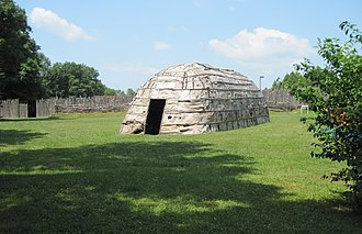 Oxford County, Ontario - recreation of longhouse at Lawson village site in London (Museum of Ontario Archaeology)