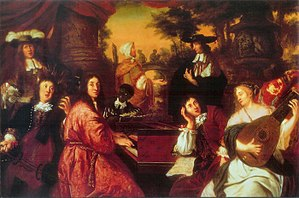 "Johannes Voorhout - Music scene (1674) in the History of Hamburg Museum.   Voorhout may be the man in the feather hat.    A dedication ""to brothers Buxtehude and Joh: Adam Reink"" is now thought to identify the gamba and keyboard players, while identification of the boy holding a canon as Johann Theile has been thrown into doubt by the recent discovery of a portrait in Lübeck."
