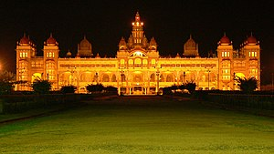 Culture of Mysore - A lit up Mysore Palace, the center of all Dasara festivities held in Mysore.