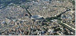 Arena of Nîmes - Aerial view of Nîmes with the arena in the centre.