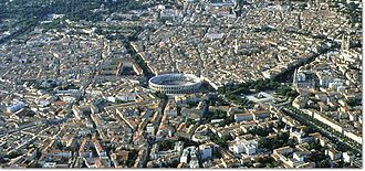 Arena of Nîmes - Aerial view of Nîmes with the arena in the centre
