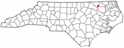 Location of Woodland, North Carolina