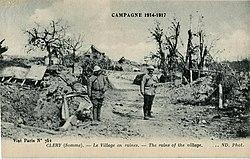 ND - CAMPAGNE 1914-1917 - CLERY - Le Village en ruines.JPG