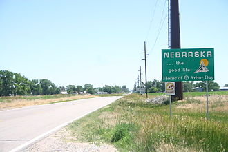 Nebraska Highway 92 - Sign on N-92 as it enters the state from Wyoming
