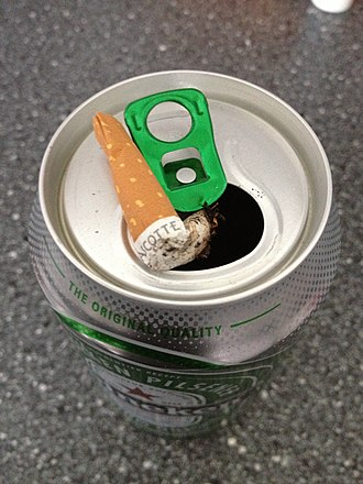 Ashtray - An aluminum can in use as an improvised ashtray