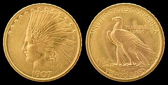 Indian Head gold pieces - The Indian Head eagle, designed by Saint-Gaudens, was the basis for the designs for the smaller gold pieces.
