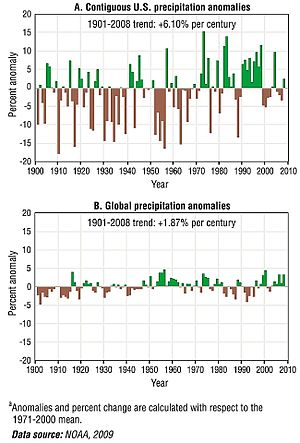 Effects of global warming - Precipitation during the 20th century and up through 2008 during global warming, the NOAA estimating an observed trend over that period of 1.87% global precipitation increase per century.